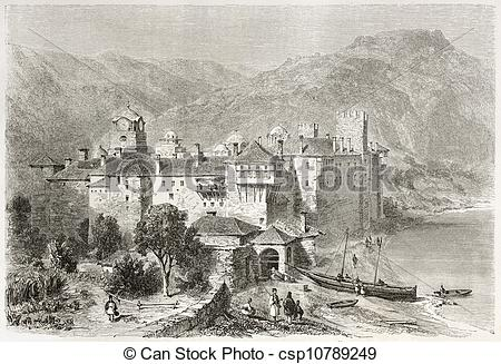 Drawing of Esphigmenou monastery old view, Mount Athos, Greece.