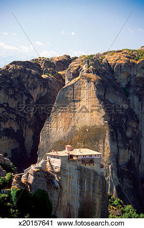 Stock Photography of Roussanou Monastery on a cliff, Mount Athos.