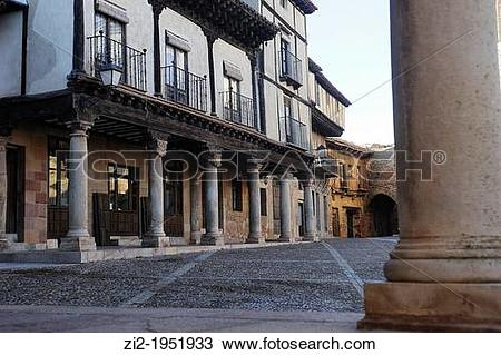Stock Photo of Arcaded square. Atienza, Guadalajara, Spain. zi2.