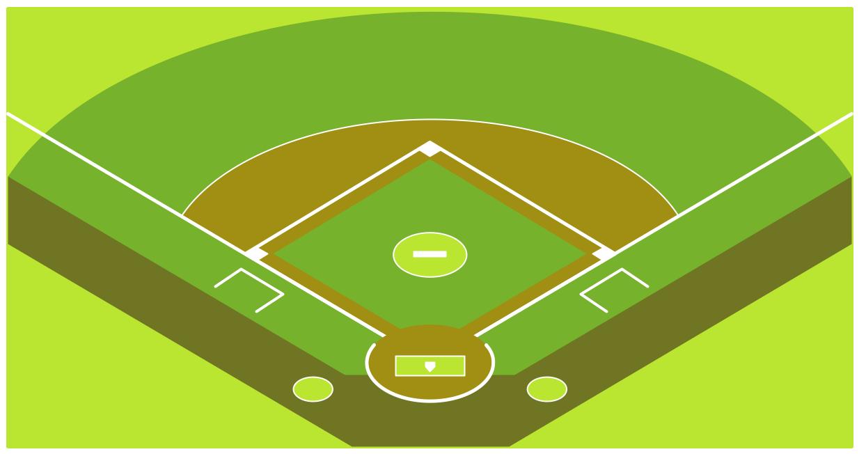 Baseball field corner view template.