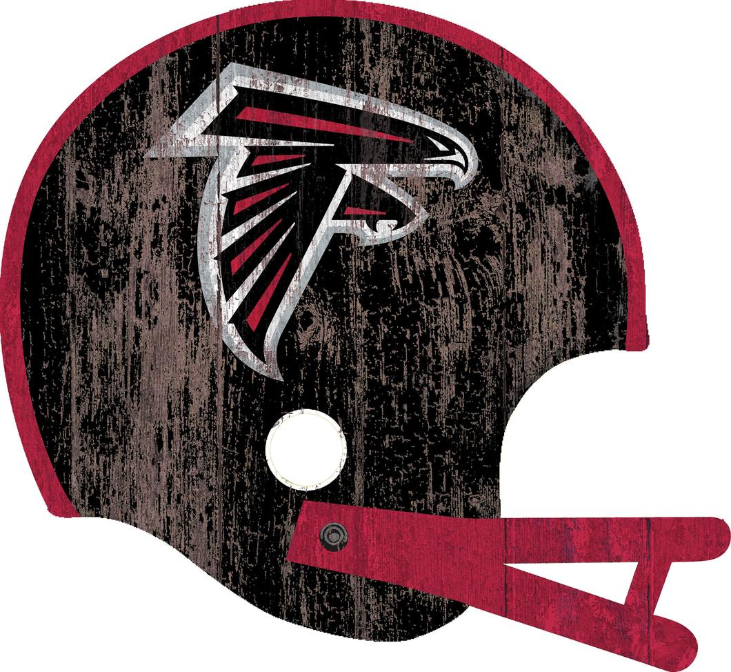 Atlanta Falcons Distressed Helmet Wood Sign.