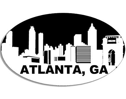 American Vinyl Oval Atlanta GA Skyline Sticker (City Georgia Cityscape).
