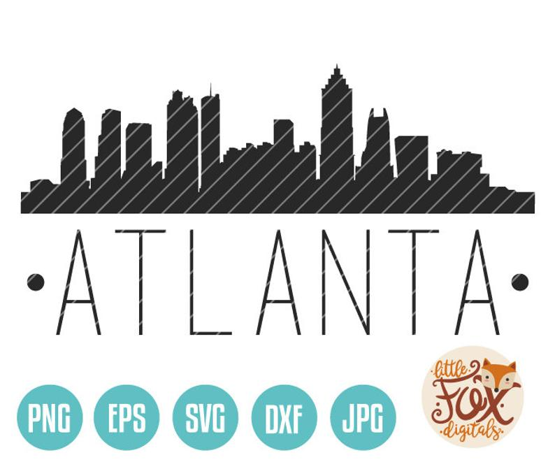 SVG VECTOR ATLANTA Georgia, Usa Cut File Skyline City East Coast Silhouette  Clipart Set Digital Illustration Scrapbook eps jpg png dxf svg.