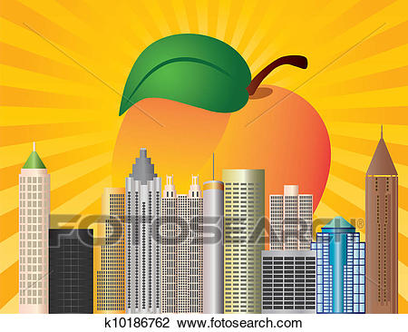 Atlanta Georgia City Skyline with Peach Illustration Clipart.
