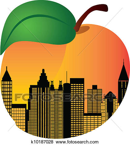 Atlanta Georgia Night Skyline Inside Peach Illustration Clip Art.