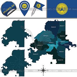 Map of Atlanta, GA with Districts.
