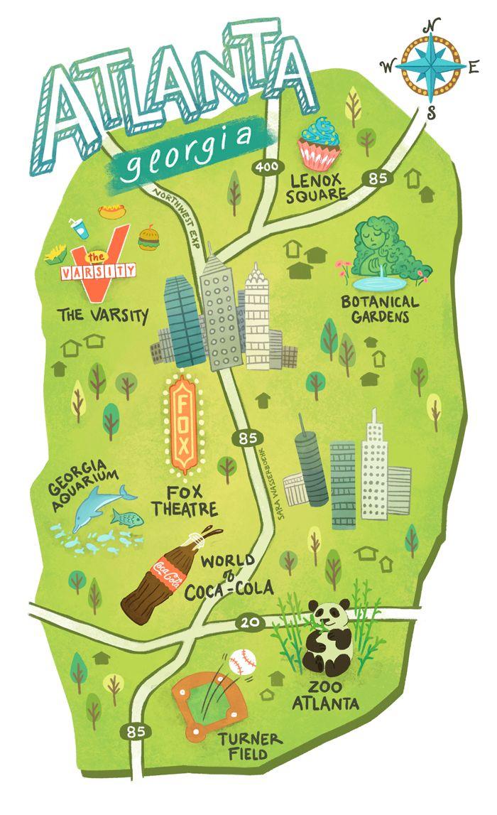 Illustrated maps of Atlanta, GA, Austin, TX, and Seattle, WA.