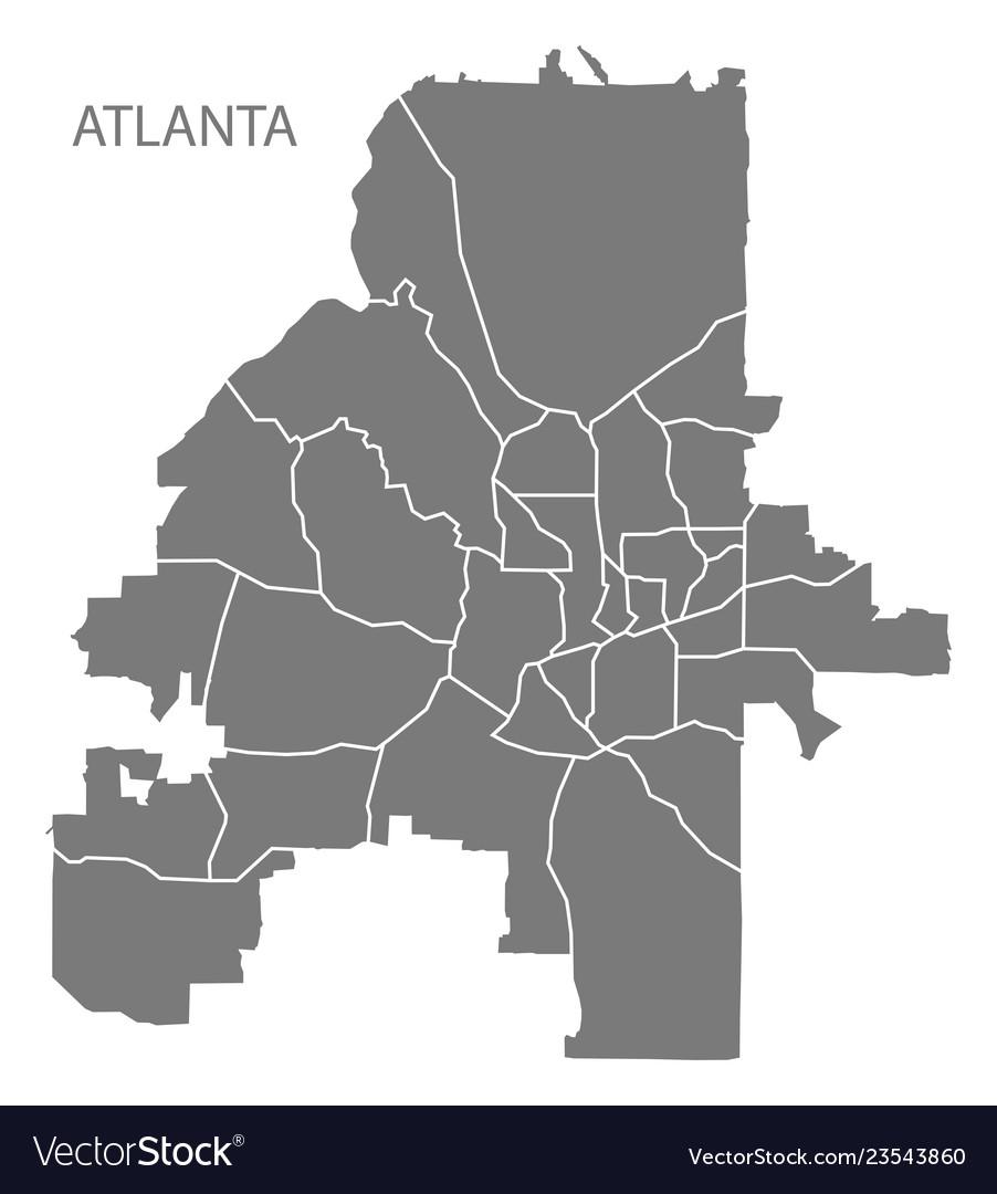 Atlanta georgia city map with neighborhoods grey vector image.