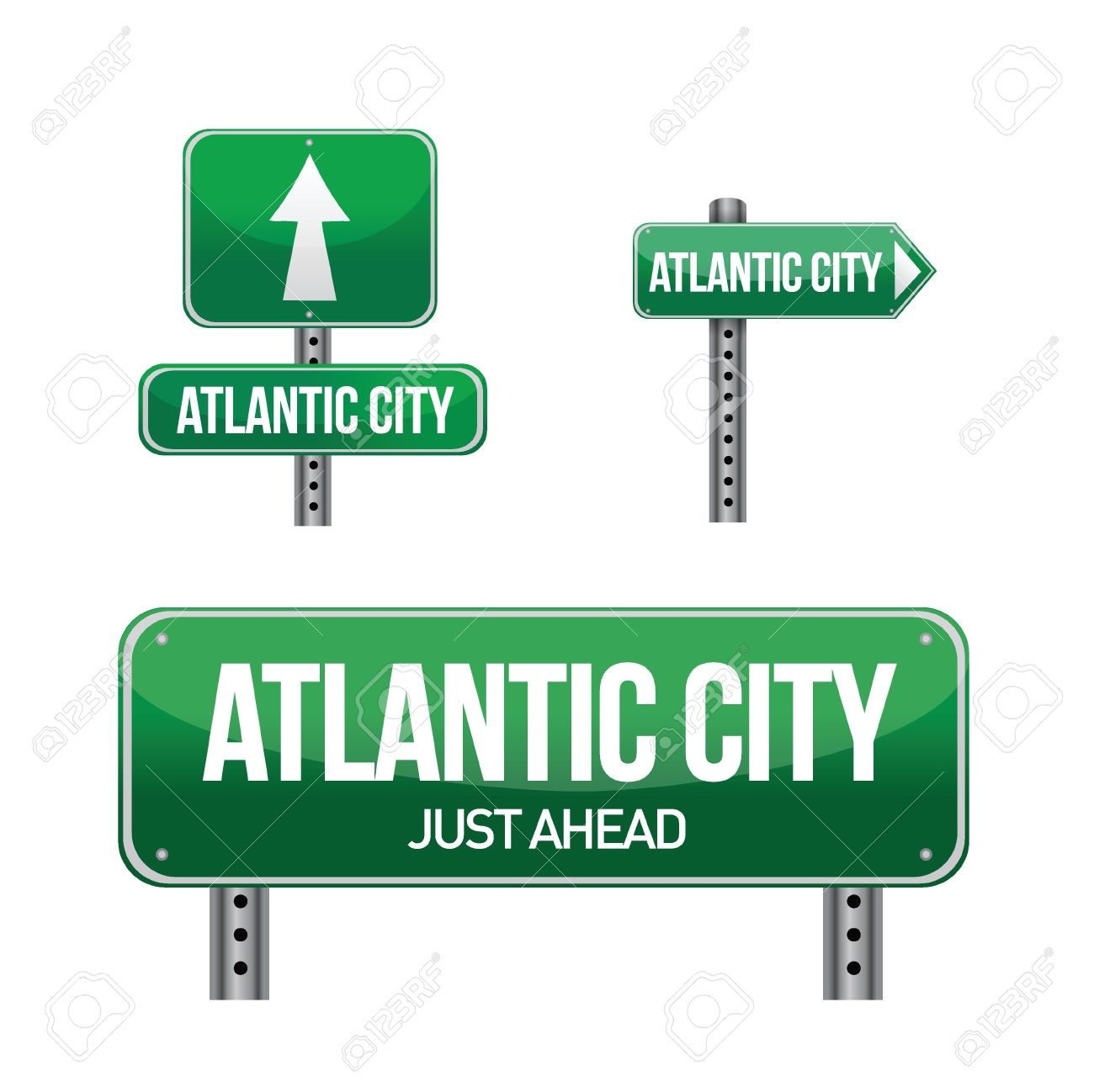 Atlantic City Road Sign Illustration Design Over White Royalty.