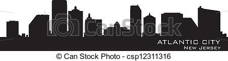 Vector Clip Art of Atlantic City, New Jersey skyline. Detailed.