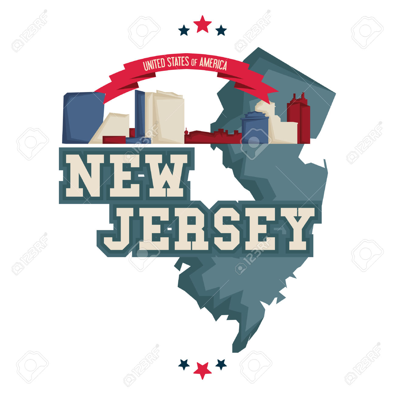 New Jersey Map With Atlantic City Boardwalk Royalty Free Cliparts.