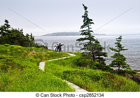 Stock Photo of Father and children at Atlantic coast in.