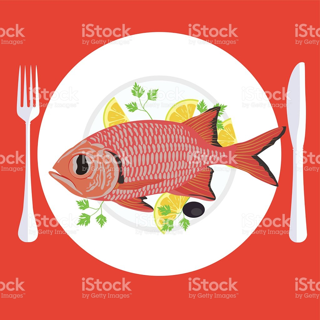 Vector Illustration Of Grill Prepared Fish With Lemon And Parsley.