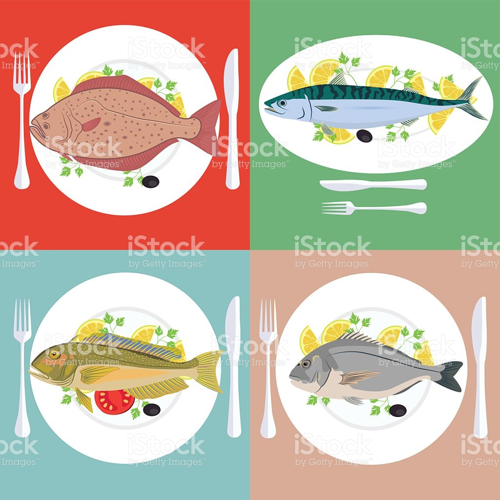 Set Of Grill Prepared Fish With Lemon And Parsley stock vector art.