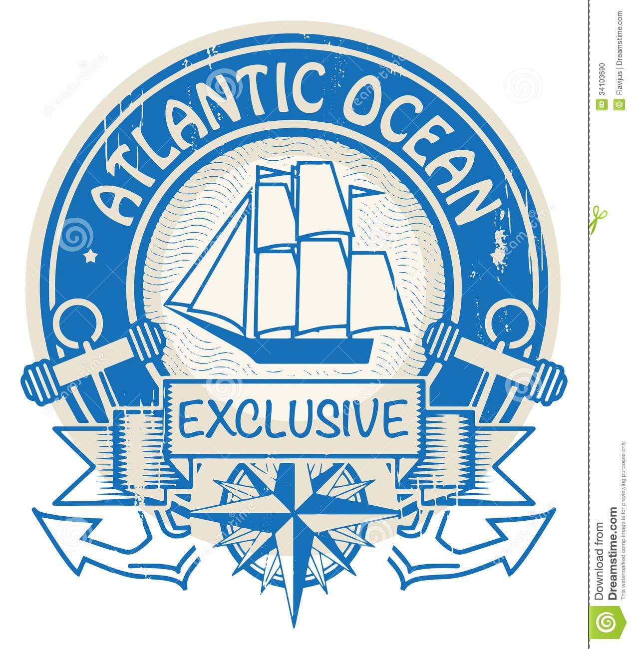 Atlantic Ocean Stamp Stock Photo.