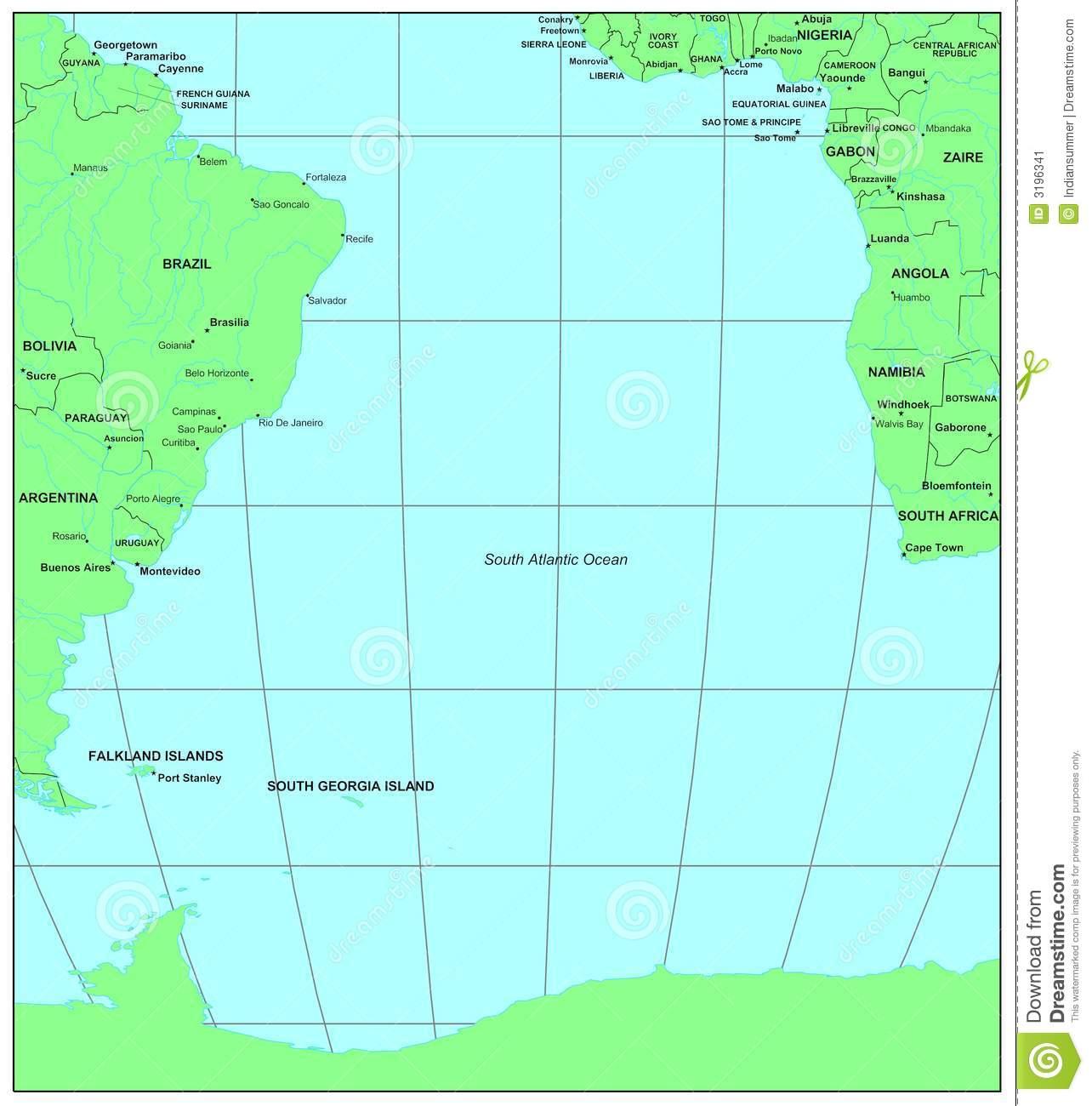 Atlantic ocean map clipart.
