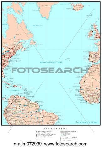 Stock Photograph of Map of North Atlantic Ocean, with Country.
