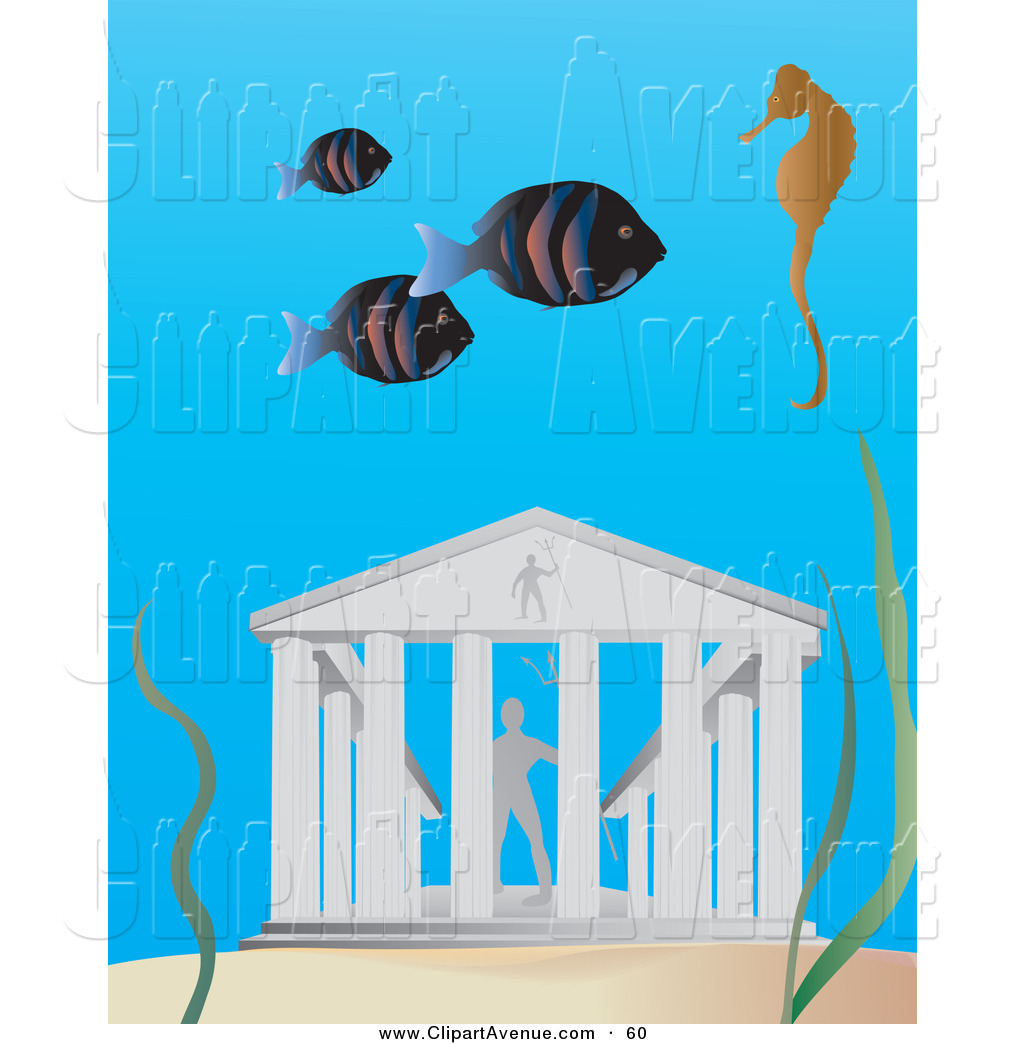 Avenue Clipart of a School of Fish and a Seahorse Swimming near.