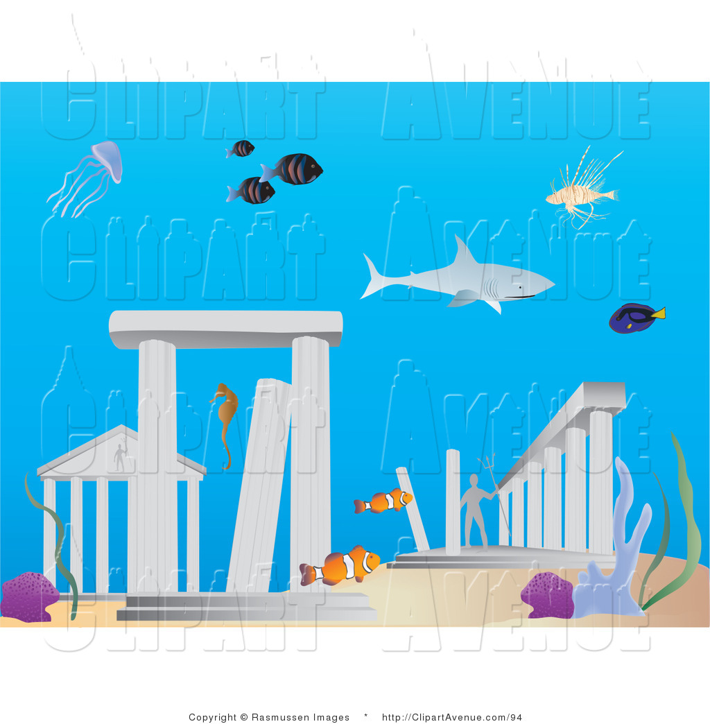 Avenue Clipart of Sharks and Fish Swimming Around the Lost.