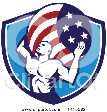 Clipart of a Retro Muscular Man, Atlas, Carrying a Globe in a Blue.