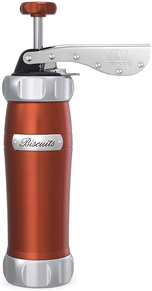 Marcato 8307RD Atlas Deluxe Biscuit Maker Press, Made in Italy, Includes 20  Cookie Disc Shapes, Red.