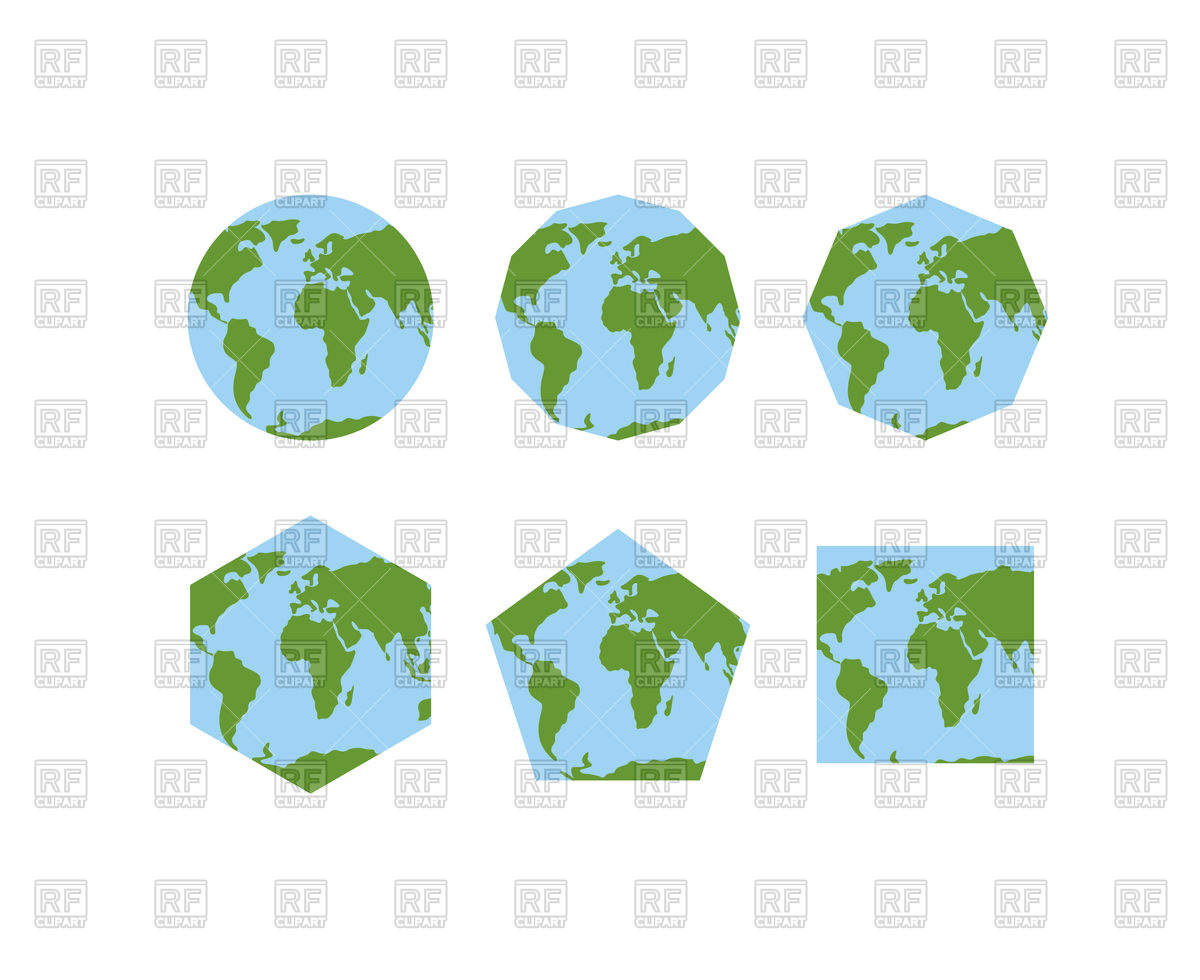 Set of geometric shapes of world atlases Vector Image #133012.