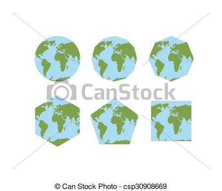 Clip Art Vector of Set of geometric shapes of world atlases. Map.