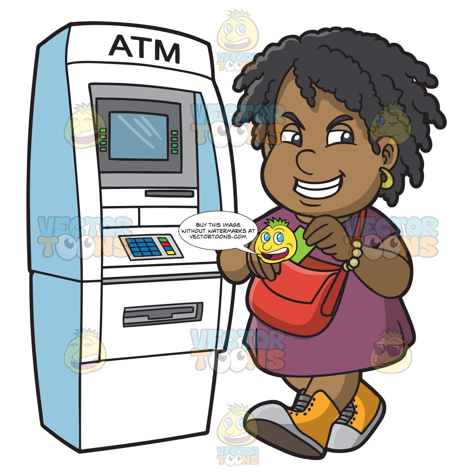 A Happy Black Woman Getting Cash From The Atm.