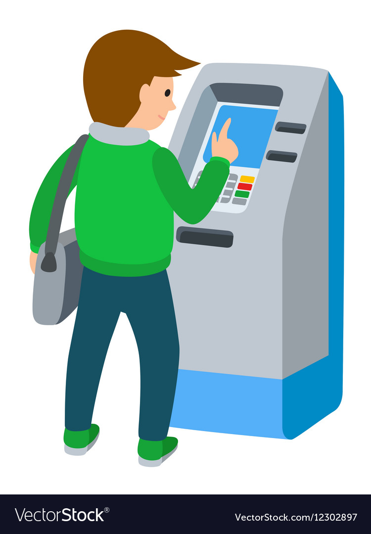Man using ATM machine of.