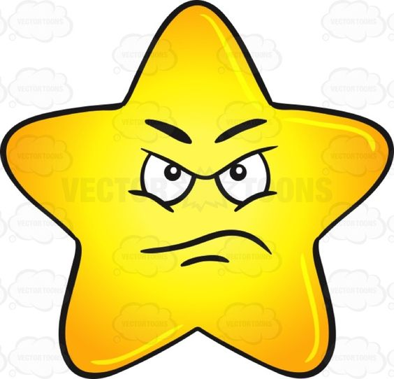 Upset And Angry Gold Star Cartoon Emoji.