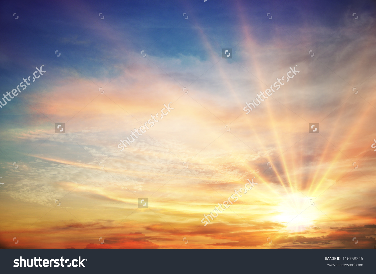Sunset Sunrise Clouds Light Rays Other Stock Illustration.
