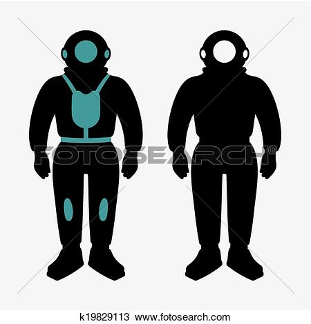 Clipart of Atmospheric diving suits k19829113.