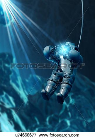 Stock Illustration of Diver wearing atmospheric diving suit.