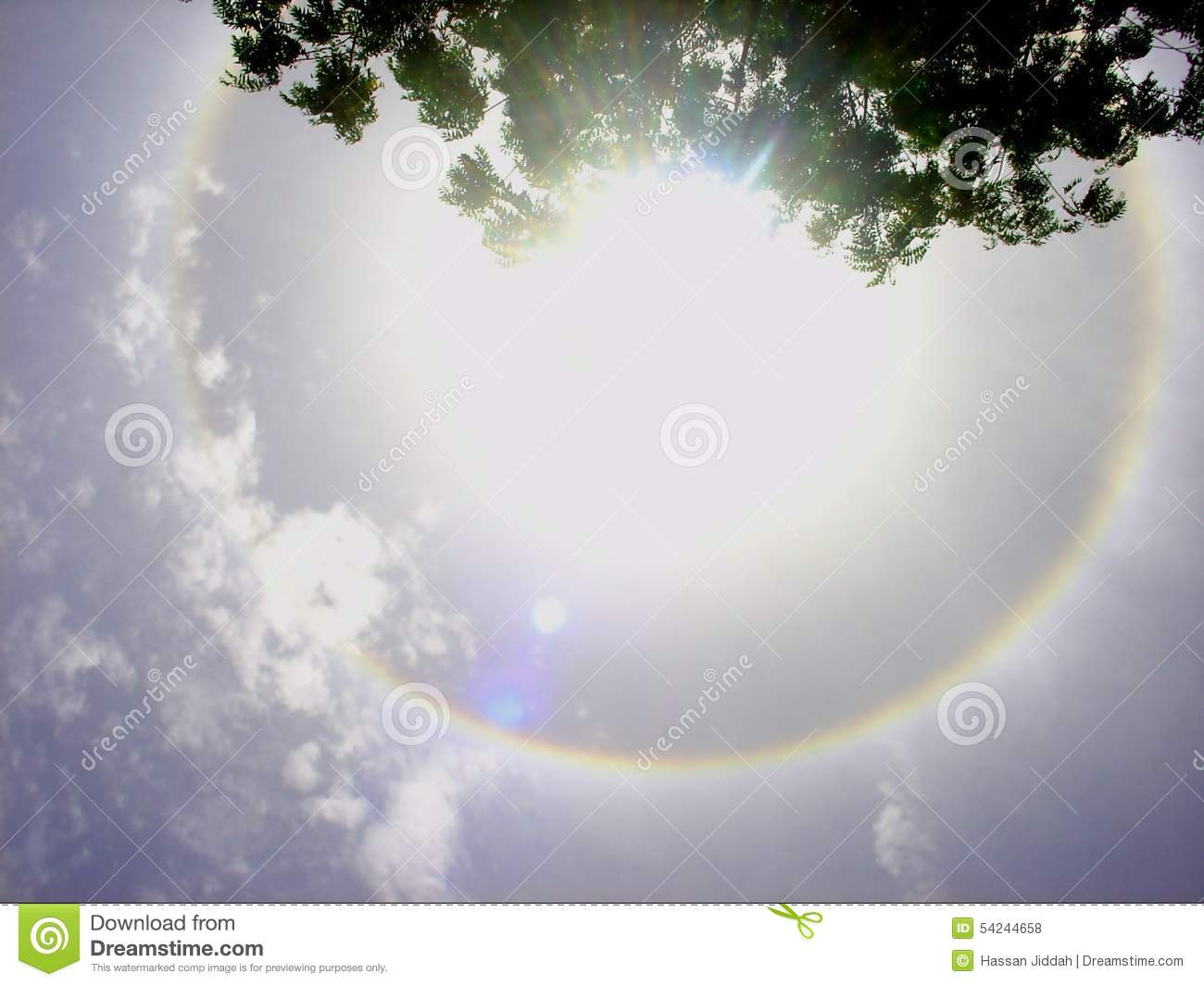 Halo Optical Phenomenon Stock Photo.