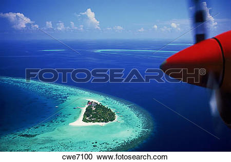 Stock Photography of Aerial view with plane prop over Mayafushi.