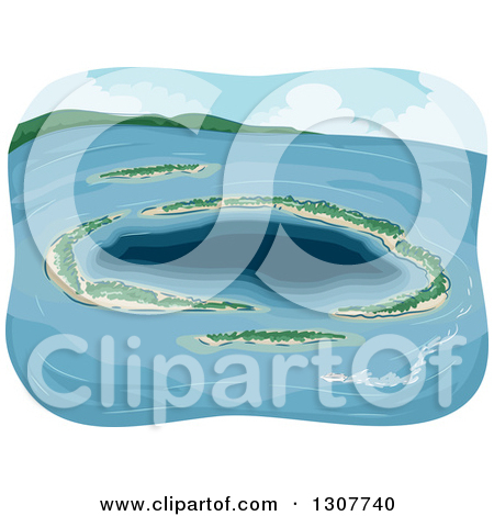 Clipart of a Tropical Atoll Island in the Ocean.