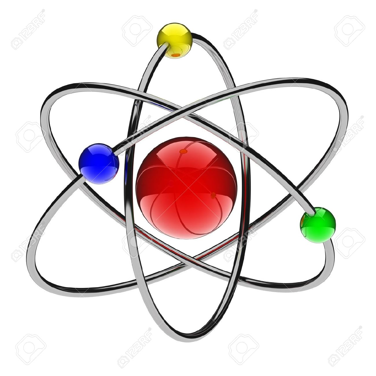 Abstract Red Atom (done In 3d, Isolated) Stock Photo, Picture And.