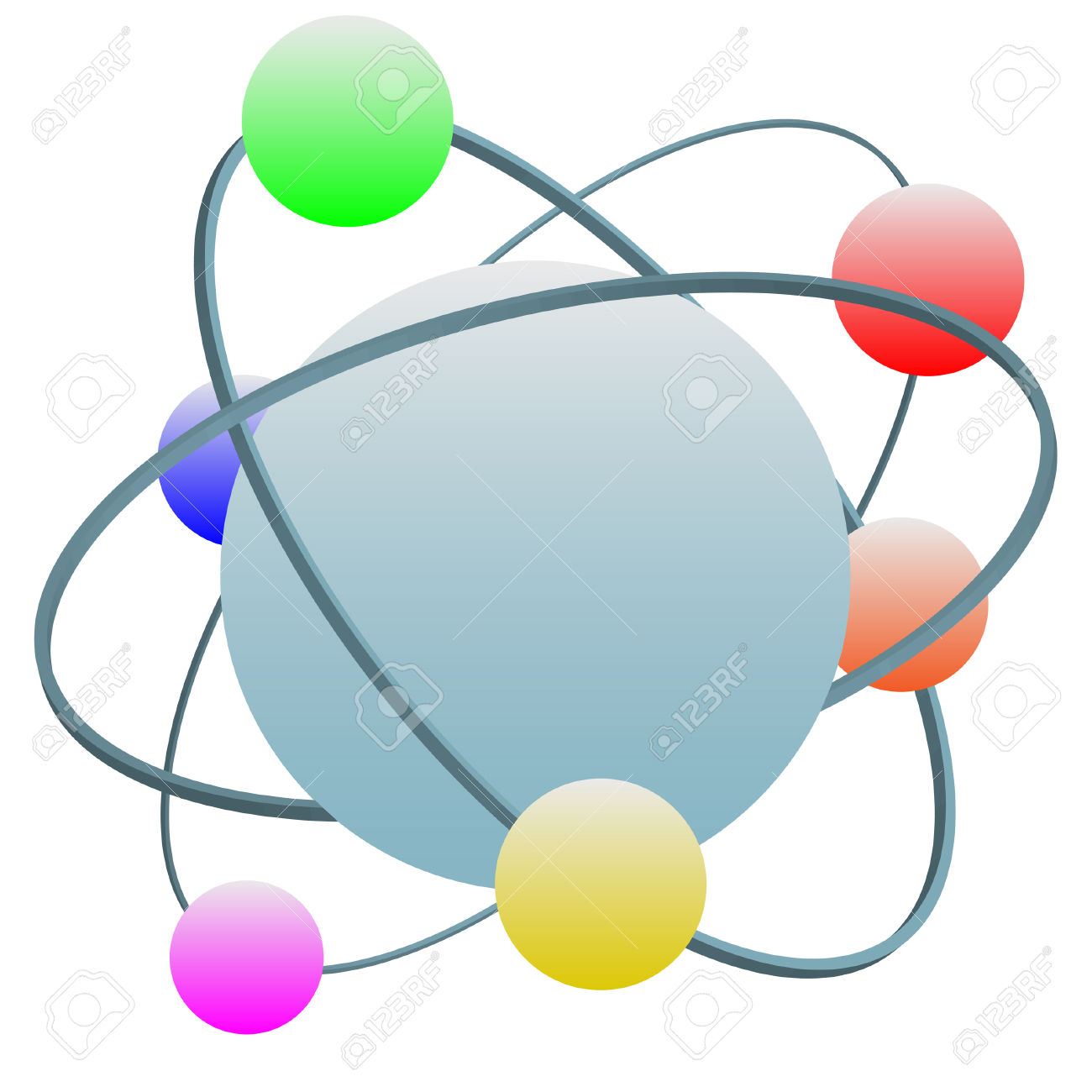 Idealized High Technology Atom Symbol With Colorful Electrons.