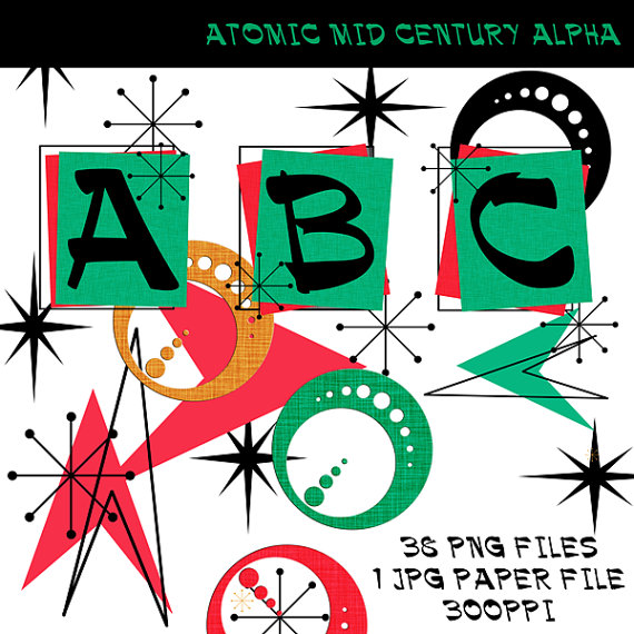 Mid Century Atomic Retro Alpha Kit Mid Century Clip Art.
