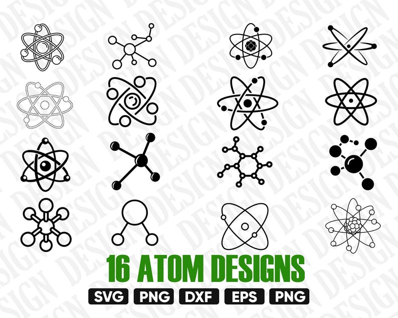 ATOM SVG, Atomic vector, atom Clipart, science svg, science Silhouette,  atom Cutting File, atom Dxf, Science vector, Atom Symbol Clipart png.