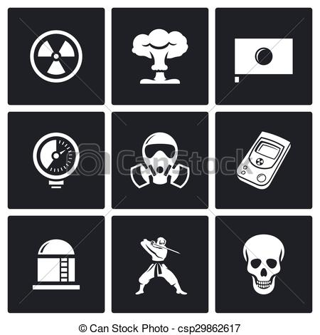 Vector Clip Art of Atomic Energy of Japan icons. Vector.