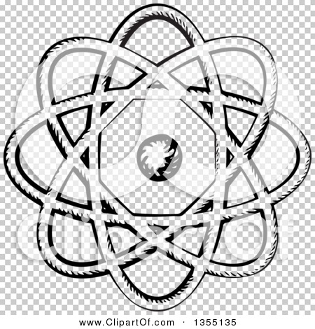 Clipart of a Black and White Sketched Atom with Nucleus and Orbits.
