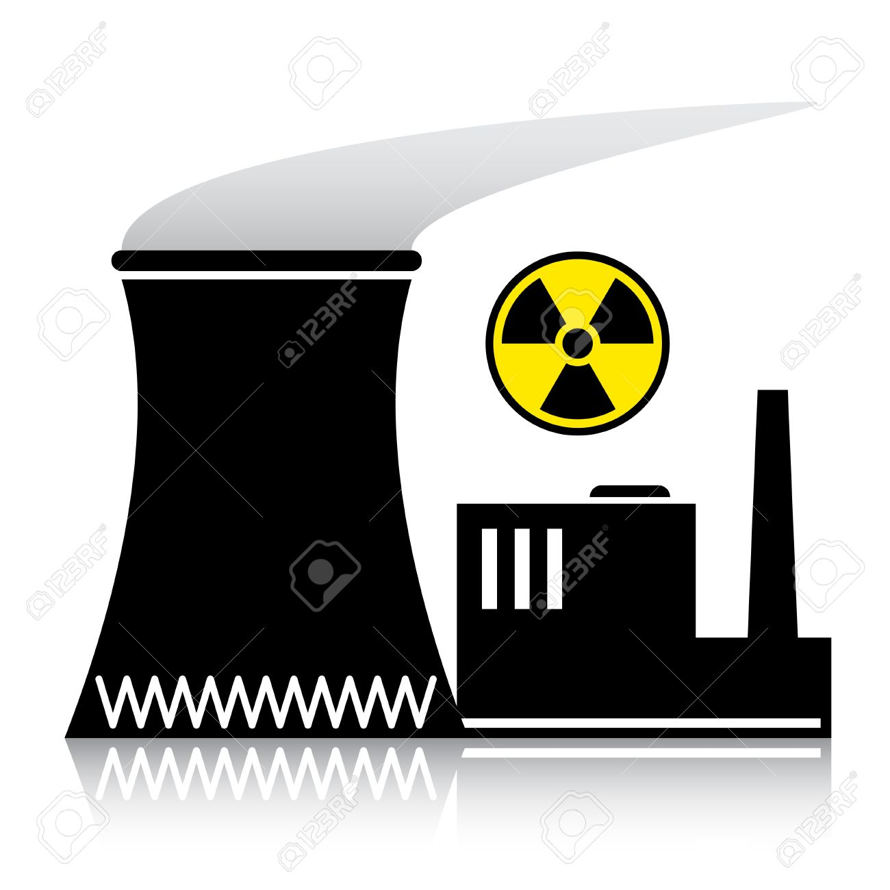 Vector Nuclear Power Plant Silhouette Royalty Free Cliparts.