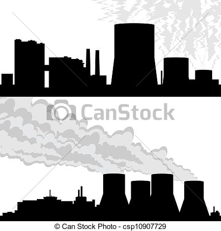 Vector Illustration of Contour of the nuclear power plant.