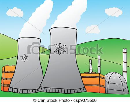 Clip Art Vector of Nuclear Power Plant.