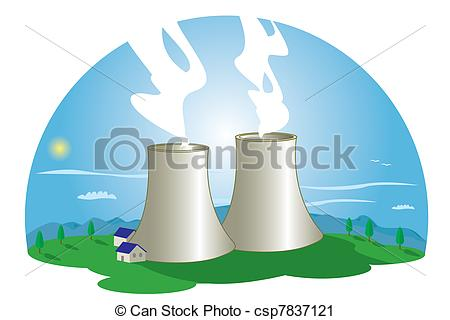 Vector Clip Art of Nuclear Power Station.