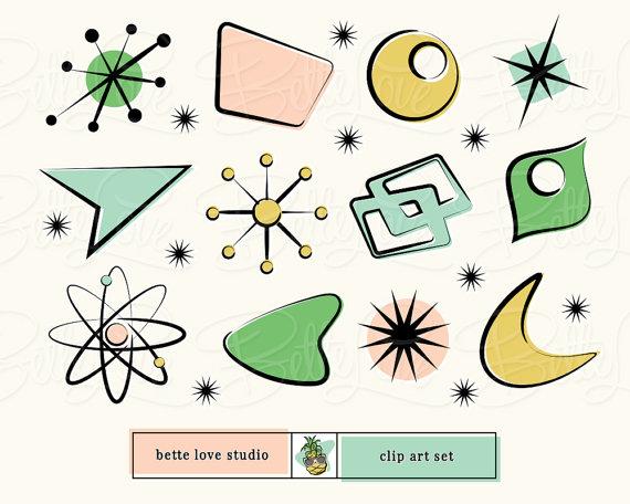 Retro Design Elements, Retro Clip Art, Atomic Starburst.