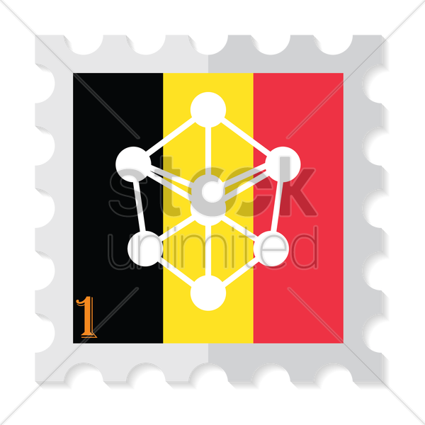 Atomium of brussels on belgium flag Vector Image.