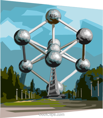 Brussels Heysel Park Atomium Royalty Free Vector Clip Art.