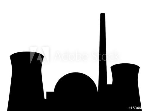 Silhouette Atomkraftwerk.